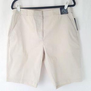 Womens Venezia Bermuda Style Shorts Khaki Beige 14